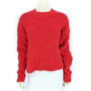 Dee Elly Red Fuzzy Knit Crew Neck Pullover Sweater